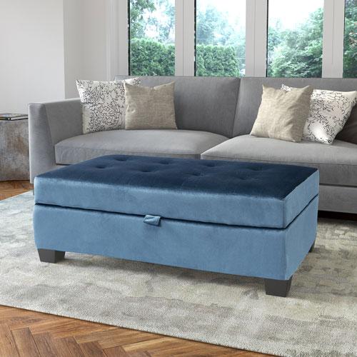 Antonio Storage Ottoman in Blue Velvet
