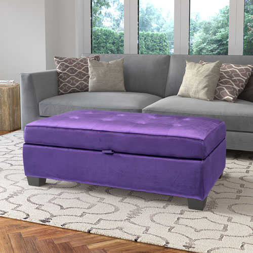 Antonio Storage Ottoman in Purple Velvet