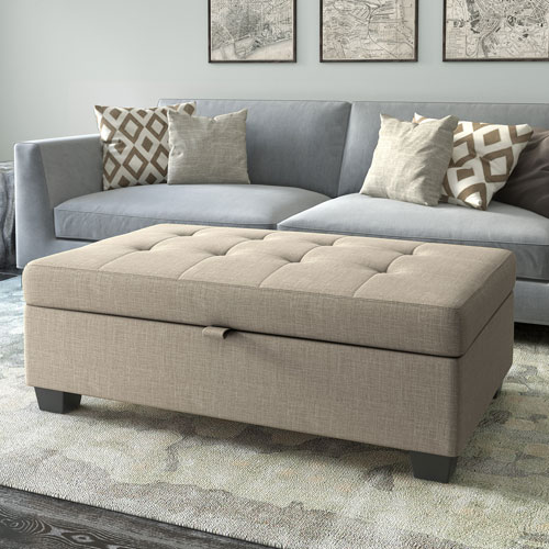 Antonio Storage Ottoman in Beige Fabric