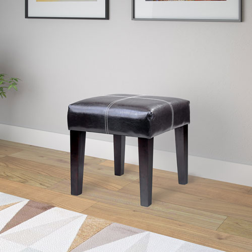 Antonio 16-Inch Square Bench in Black Bonded Leather
