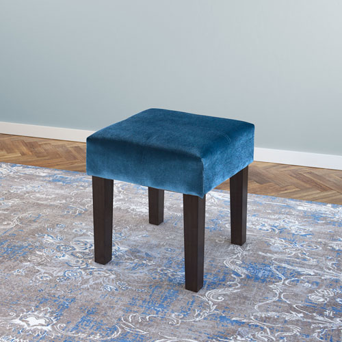 CorLiving Antonio 16-Inch Square Bench in Blue Velvet
