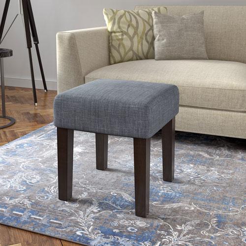 Antonio 16-Inch Square Bench in Blue Grey Fabric