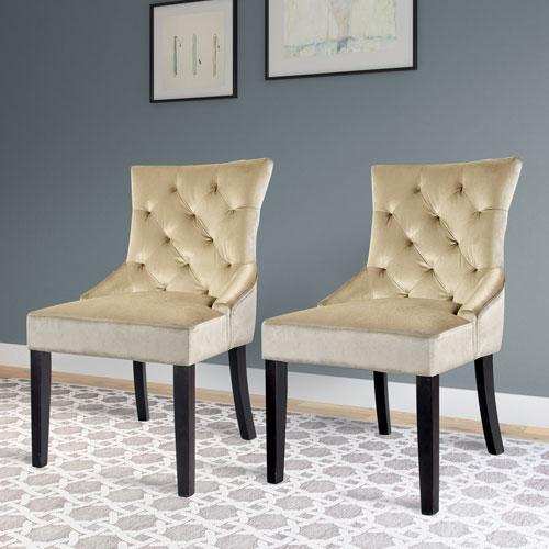 Antonio Accent Chair in Soft Beige Velvet, Set of 2