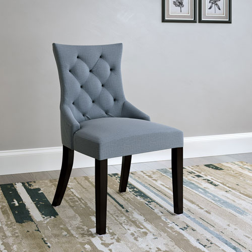 Antonio Accent Chair in Blue Grey Fabric, Set of 2