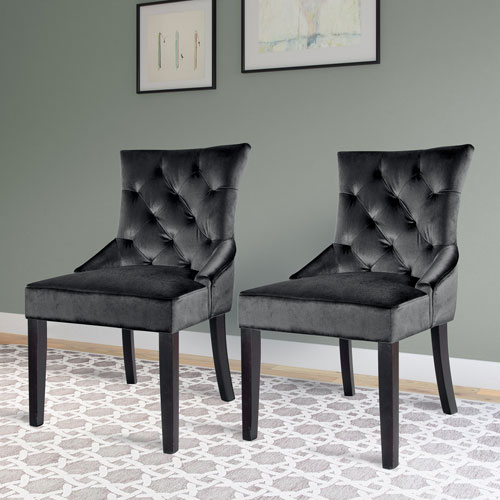 Antonio Accent Chair in Dark Grey Velvet, Set of 2