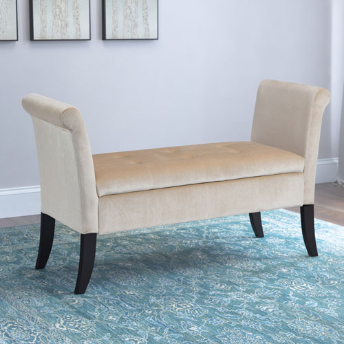 Antonio Storage Bench with Scrolled Arms in Cream Velvet