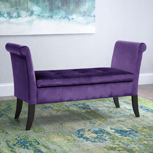 Antonio Storage Bench with Scrolled Arms in Purple Velvet