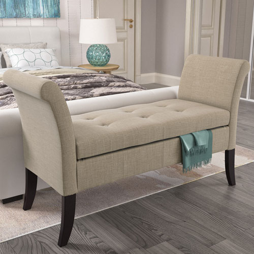 Antonio Storage Bench with Scrolled Arms in Beige Fabric