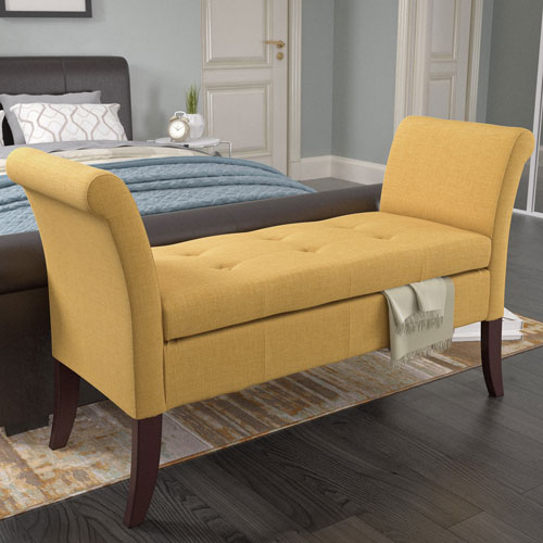 Antonio Storage Bench with Scrolled Arms in Yellow Fabric