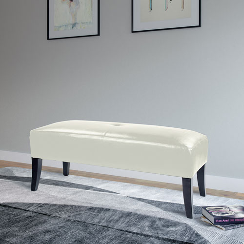 Antonio 46-Inch Bench in White Bonded Leather