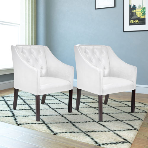 Antonio Accent Club Chair in White Bonded Leather, Set of 2