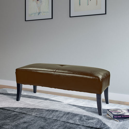 Antonio 46-Inch Bench in Brown Bonded Leather