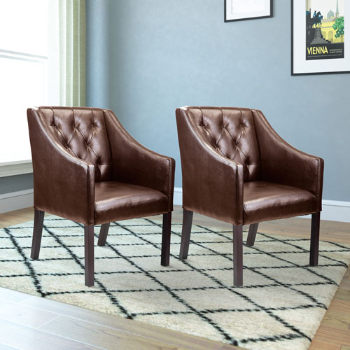 Antonio Accent Club Chair in Brown Bonded Leather, Set of 2