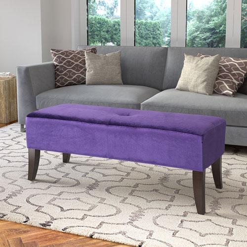 Antonio 46-Inch Bench in Purple Velvet