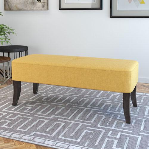 CorLiving Antonio 46-Inch Bench in Yellow Fabric