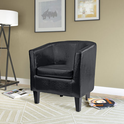 Antonio Tub Chair in Black Bonded Leather