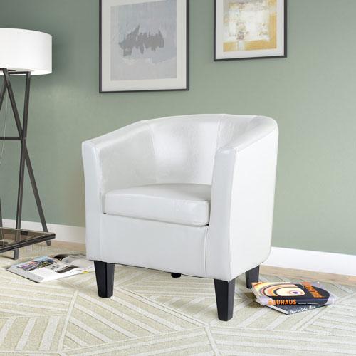 Antonio Tub Chair in White Bonded Leather