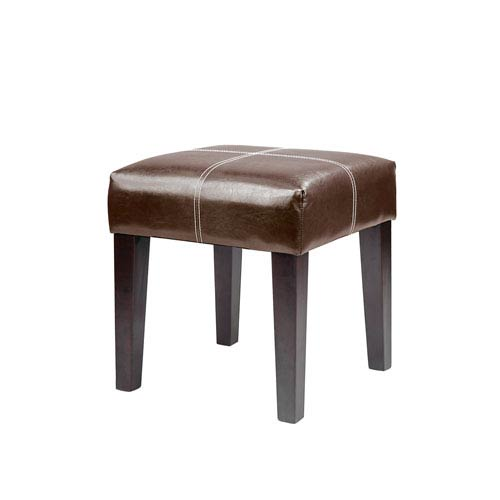 CorLiving Antonio Dark Brown Bonded Leather 16-Inch Bench