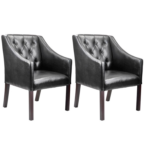 CorLiving Antonio Black Bonded Leather Accent Club Chair, Set of 2