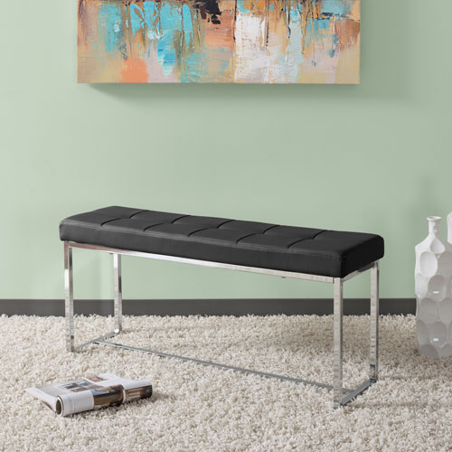 Huntington Modern Black Leatherette Bench with Chrome Base