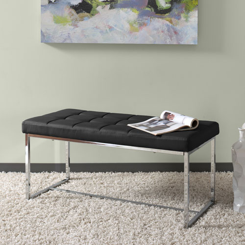 Huntington Modern Black Leatherette Wide Bench with Chrome Base