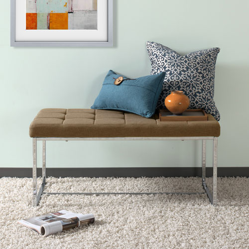 CorLiving Huntington Modern Brown FabriWide Bench with Chrome Base