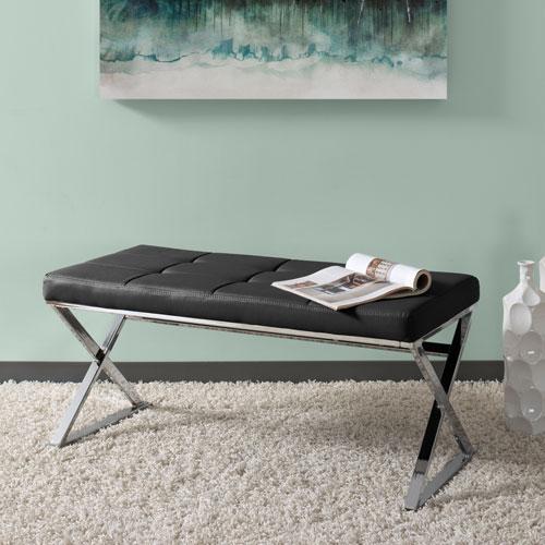 CorLiving Huntington Modern Black Leatherette Bench with X Shape Chrome Base