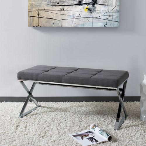 Huntington Modern Grey FabriBench with X Shape Chrome Base