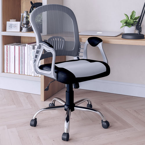 Workspace Office Chair in Black Leatherette and Grey Mesh