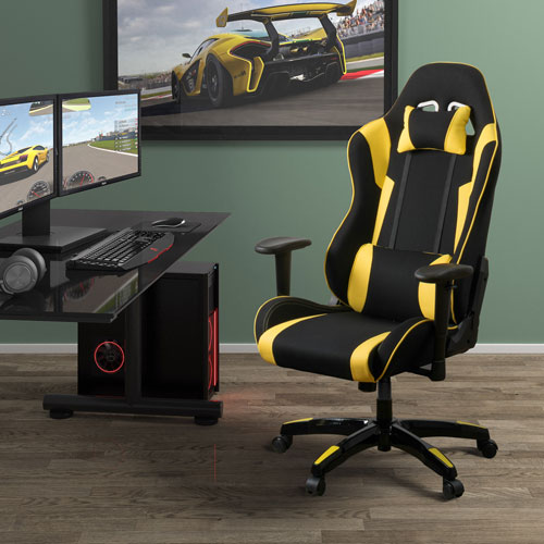Black and Yellow High Back Ergonomic Gaming Chair