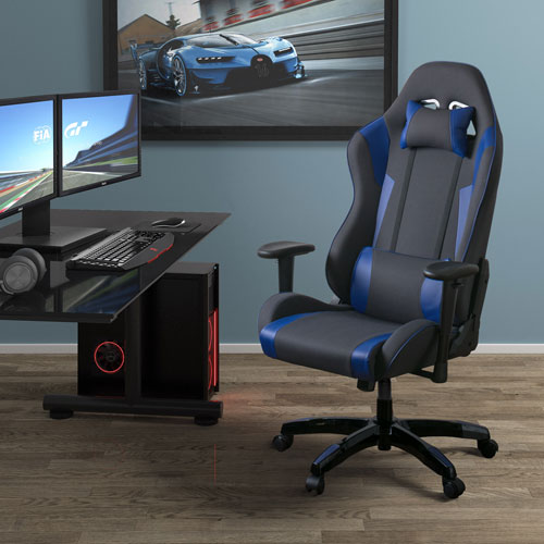 Grey and Blue High Back Ergonomic Gaming Chair