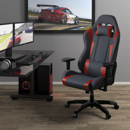 Grey and Red High Back Ergonomic Gaming Chair