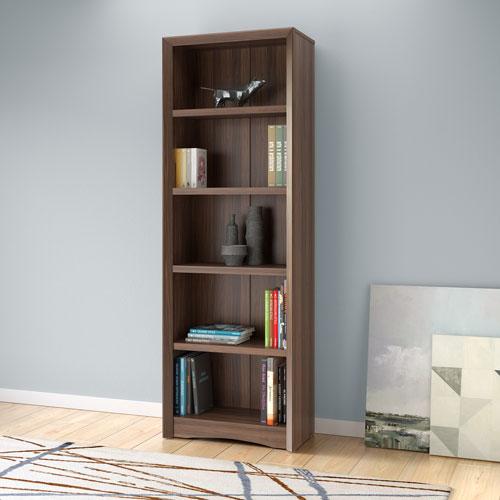 Quadra 71-Inch  Bookcase in Walnut Faux Woodgrain