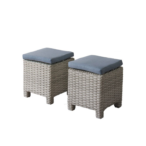 Weather Resistant Resin Wicker Ottomans, Set of 2