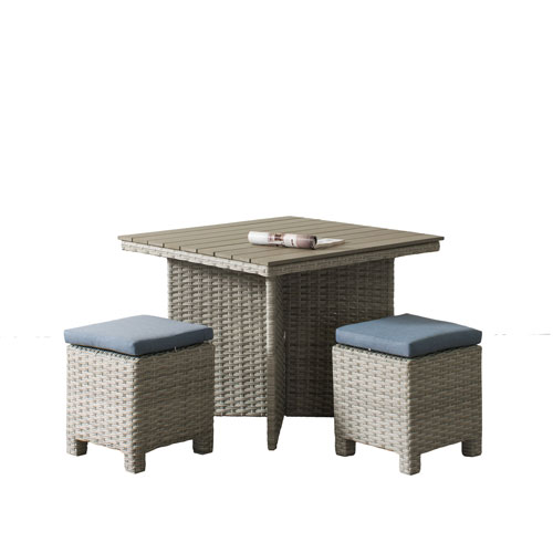 Weather Resistant Resin Wicker 3 Piece Patio Dining Set