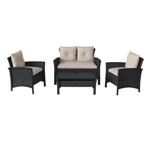 4 Piece Black Resin Rattan Wicker Patio Set with WarWhite Cushions