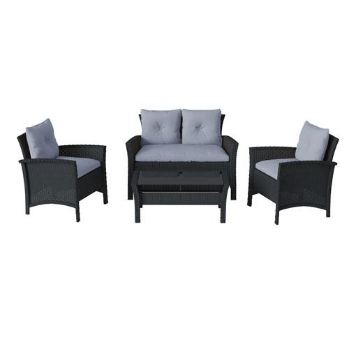 4 Piece Black Resin Rattan Wicker Patio Set with Light Blue Cushions
