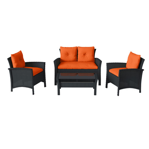 4 Piece Black Resin Rattan Wicker Patio Set with Orange Cushions