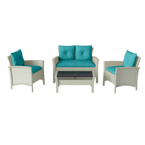 4 Piece Distressed Grey Resin Rattan Wicker Patio Set with Blue Cushions