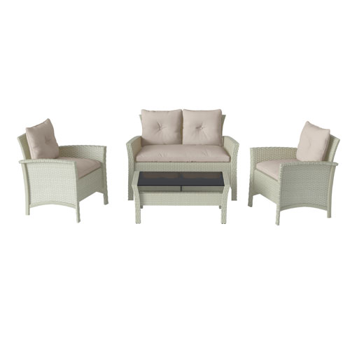 4 Piece Distressed Grey Resin Rattan Wicker Patio Set with WarWhite Cushions