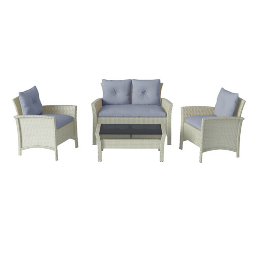 4 Piece Distressed Grey Resin Rattan Wicker Patio Set with Light Blue Cushions