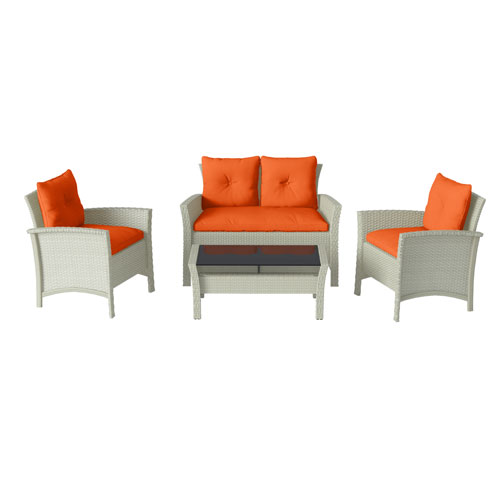4 Piece Distressed Grey Resin Rattan Wicker Patio Set with Orange Cushions