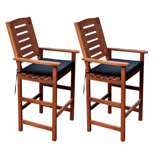 Miramar Cinnamon Brown Hardwood Outdoor Bar Height Chairs, Set of 2