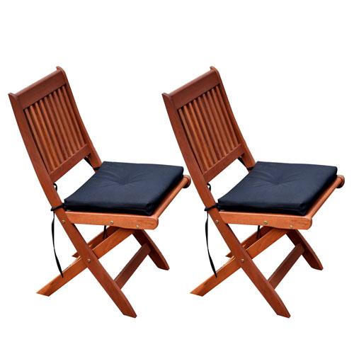 Miramar Cinnamon Brown Hardwood Outdoor Folding Chairs, Set of 2