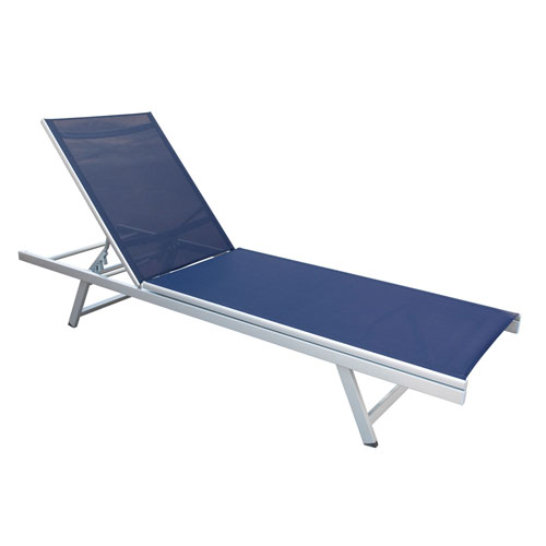Gallant Weather Resistant Navy Blue Mesh Reclining Patio Lounger