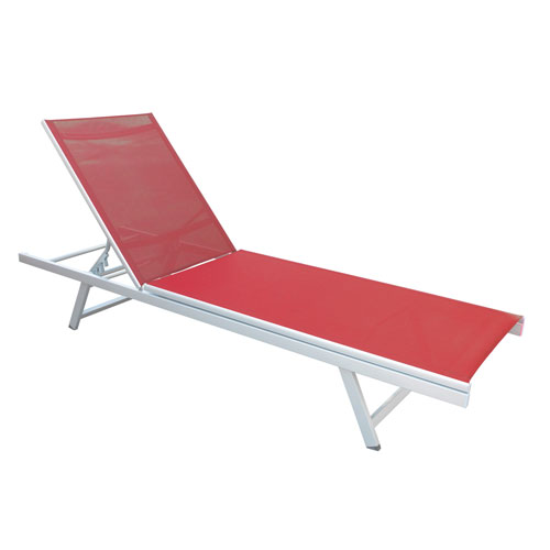 Gallant Weather Resistant Coral Red Mesh Reclining Patio Lounger