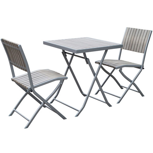 Gallant 3 piece Sun Bleached Grey Outdoor Folding Bistro Set