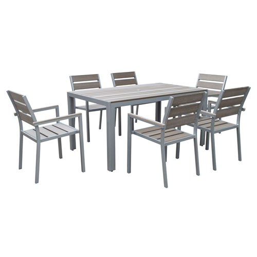 Gallant 7 piece Sun Bleached Grey Outdoor Dining Set