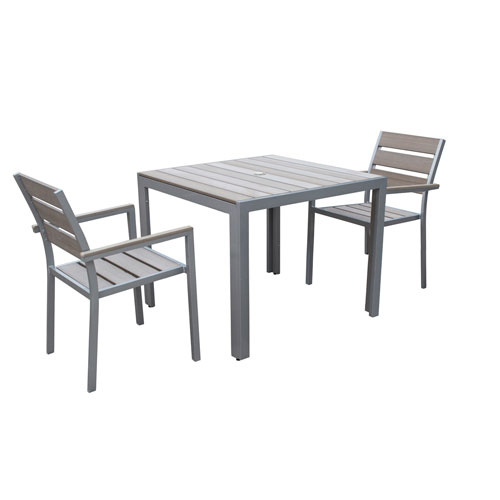 Gallant 3 piece Sun Bleached Grey Outdoor Dining Set
