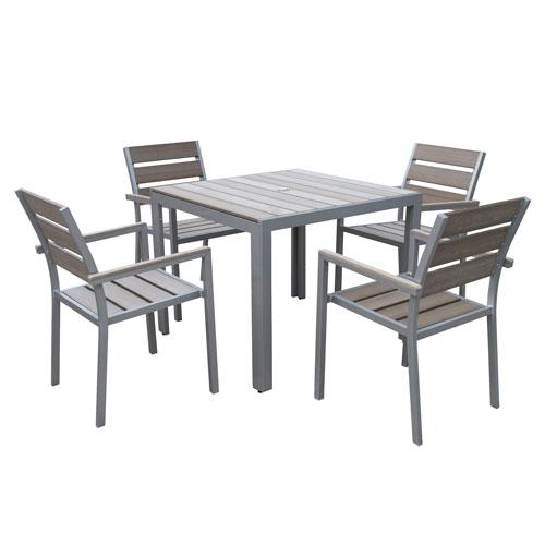 Gallant 5 piece Sun Bleached Grey Outdoor Dining Set